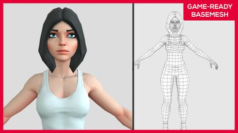 Kirah (Clothes on) -  Stylized Female Character Design - Game Ready