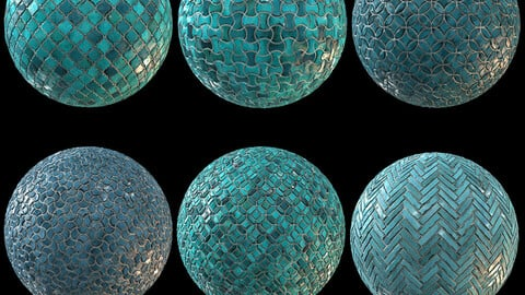 6 Teal Tile Material - PBR Seamless Textures - Vol2 (Sbsar)