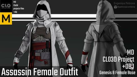 Assassin Female Outfit. Marvelous Designer, Clo3d project.