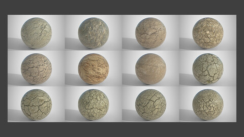 Set of 12 Various Dry Cracked Soil Textures PBR Volume 2