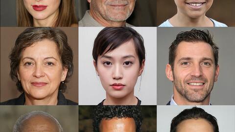 Portraits photo of people 5000 (part1-5). Faces human: Asian, Black, European, Caucasian, Indian