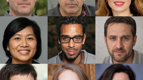 Portraits photo of people 1000 (part2). Faces human: Asian, Black, European, Caucasian, Indian