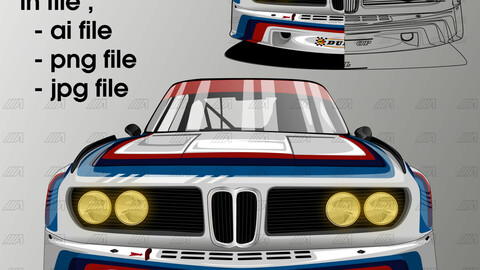 1975 bmw 3.0 Csl race car vector drawing  / in file ai . png . jpeg