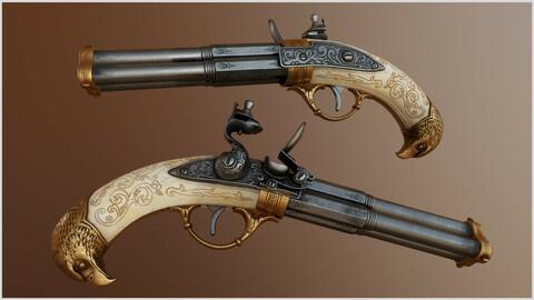 Flintlock Pistol Three Barrel - Game asset