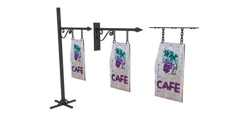 old woodden cafe sign 3D model