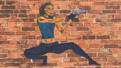 Comics Style Girl Assasin- Vector/Sticker/Decal/Transparent Background/handdrawn/