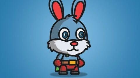 Super Bunny 2D Character Sprite