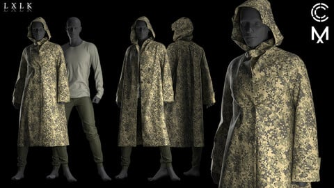 Men's Military Raincoat- Marvelous Designer, CLO3D