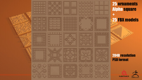 25 ornaments Alfa square + 25 FBX models (Pack_2)
