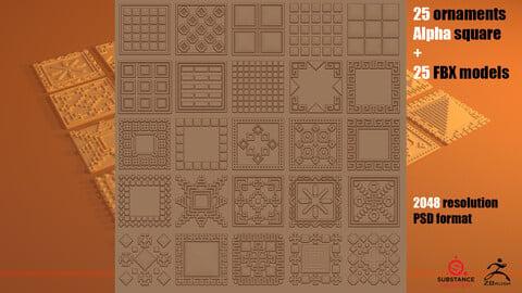 25 ornaments Alfa square + 25 FBX models (Pack_2)