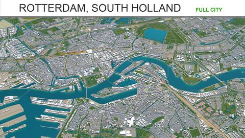 Rotterdam city South Holland 3d model 40km