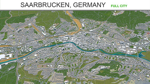 Saarbrucken city Germany 3d model 40km