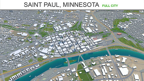 Saint Paul city Minnesota 3d model 40km