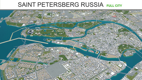 Saint Petersberg city Russia 3d model 150km