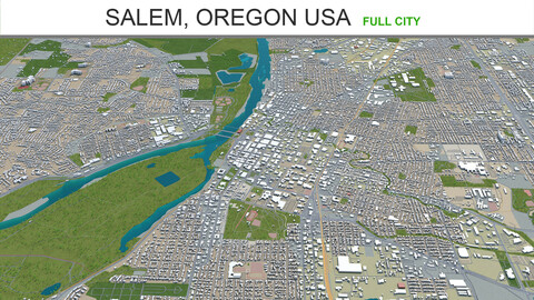Salem city Oregon USA 3d model 50km