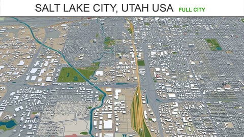 Salt Lake City Utah USA 3d model 60km