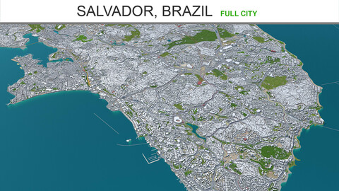 Salvador city Brazil 3d model 50km