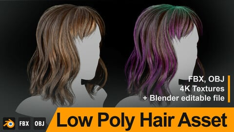 "Low Poly Female Hair ""Style F03"" - FBX/OBJ + Blender source file, 4K Textures"
