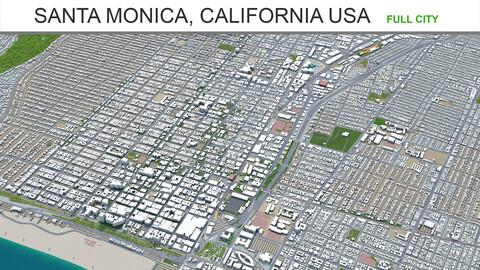 Santa Monica city California USA 3d model 20km