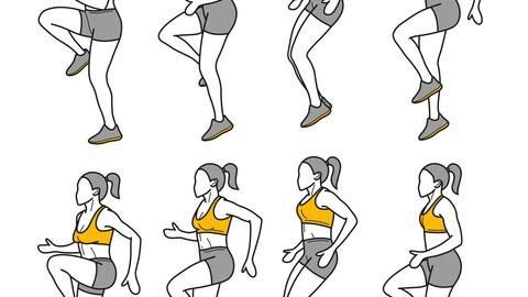 Exercise fitness yoga illustration line gif animation