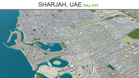 Sharjah city UAE 3d model 50km