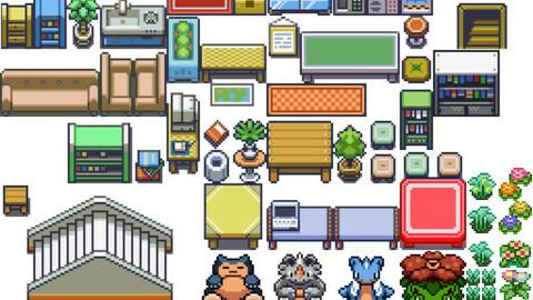 Pokemon useful  tilset rpg maker MV MZ Out inn