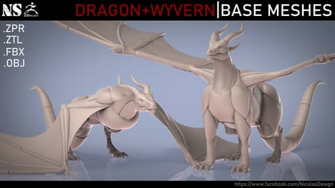 Dragon + Wyvern Base Meshes
