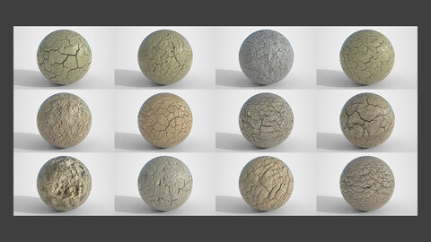 Set of 12 Various Dry Cracked Soil Textures PBR Volume 3