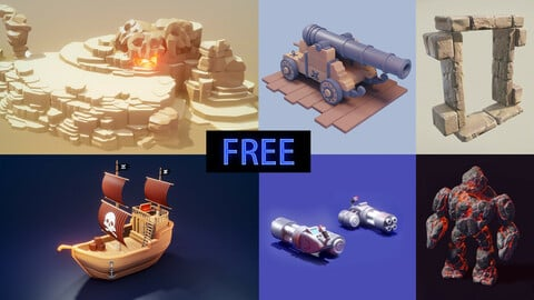 [Free to Download] Model bundle pack | 3d Game Models | Low Poly Art
