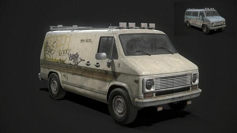 Vintage Van Set PBR Game Ready Low-poly 3D model