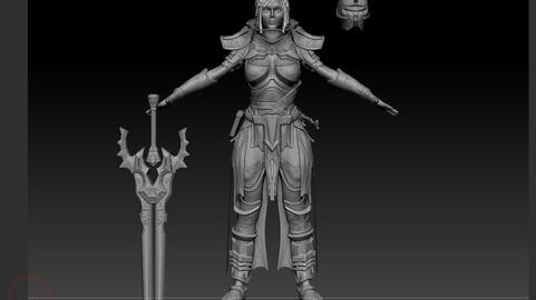 Paladin Human Girl Hihg - poly 3D model