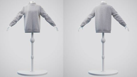 3D Turtleneck knit sweater - Female mannequin and cardigan