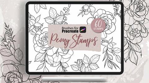 Procreate - Peony Stamps Tattoo