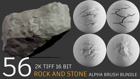 56 stone and rock easy sculpting alpha brush bundle + video tutorial