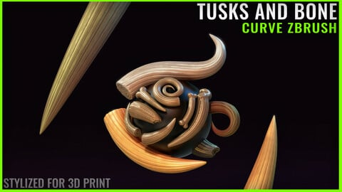 Tusks and Bone - Zbrush Curve IMM - Stylized for 3D Print