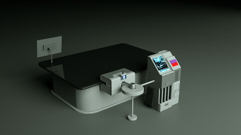 Sci fi table hard surface Low poly Low-poly 3D model