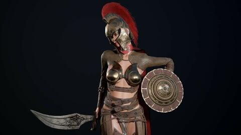 Gladiator Girl Low poly game model