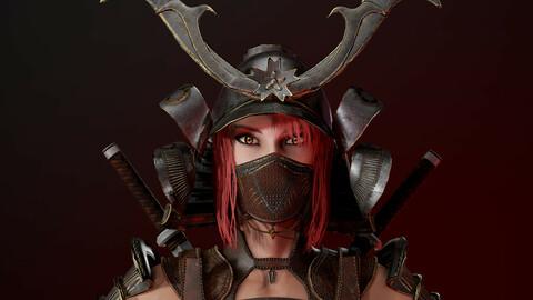 Samurai Girl Low poly game model