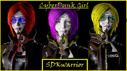 Cyberpunk Girl low pole game model