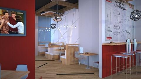 3D Restaurant Cafe Interior Full model