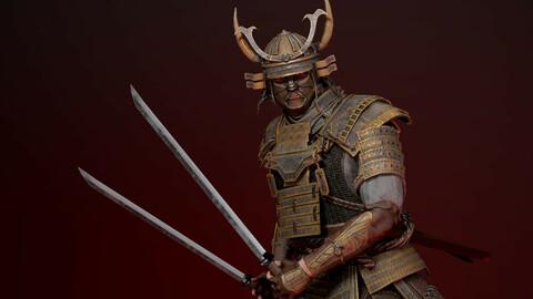 Samurai Boss Low Poly game model