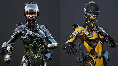 Robot Girl Remake Low-poly 3D model