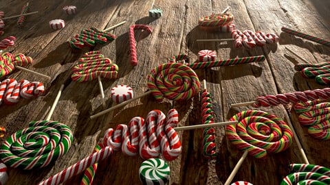Candy canes and Christmas sweets (Low-poly, game-ready 3d model, PBR)