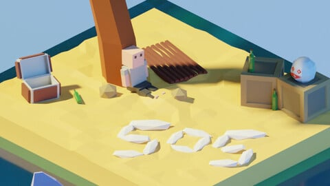 Isometric Low Poly Castaway - Marooned by Zoe Tamago