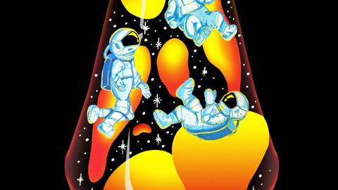 Space Explorers in a Lava Lamp