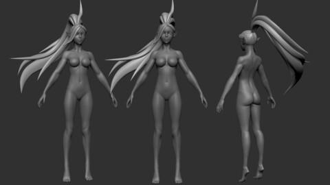 Fantasy, Elf female basemesh