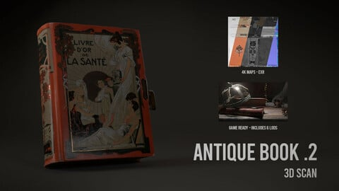 Antique Book .2 - 3D Scan with Textures & LODS