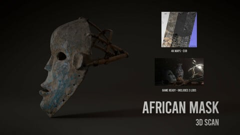 African Mask - 3D Scan with Textures & LODS