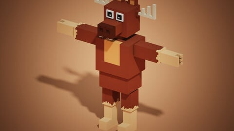 MOOSE HEAD WITH HUMAN BODY MINECRAFT STYLE