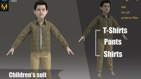 Children/Kids_Outfit_Clothes_Uniform_MD files_Practice for Zbrush_OBJ&FBX(if needed)